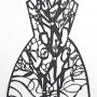 'Paper, Scissors Frock # 2' Small paper cut, 40 x 23cm unframed, $70